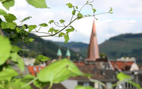 Blick vom Alten Haltepunkt oberhalb der Plettenberger Innenstadt auf den 2014 erneuerten Turm der Christuskirche