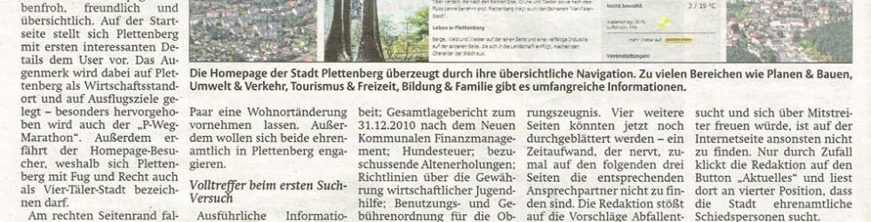 """Der Bote"" findet Plettenbergs Homepage klasse"